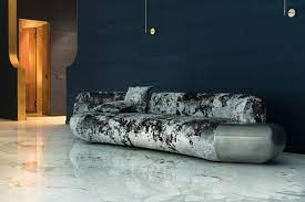 104 Modren Sofas Straight Modern Sofa In Textured Crushed Velvet With Liquid Metal For Sale At Pamono
