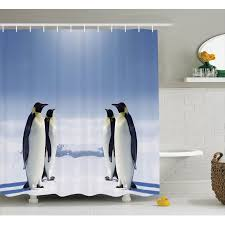 sea animals decor shower curtain set two pairs of penguins facing