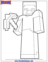 Minecraft Character With Pickaxe Weapon Coloring Page