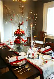 Wonderfull Sophisticated Christmas Table Arrangements With White And Red Dining Decoration Ideas