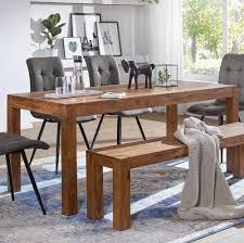finebuy esstisch massivholz sheesham esszimmer tisch holztisch design küchentisch landhaus stil braun größe wählbar