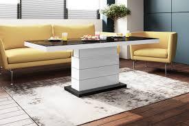 design couchtisch tisch matera h 333 schwarz weiß hochglanz höhenverstellbar ausziehbar wohnzimmertisch esstisch design impex