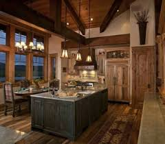 lovely log cabin kitchen ideas with large island countertop from