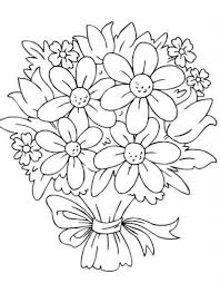 Bunch Of Flower Drawing Bouquet Flowers Coloring Pages