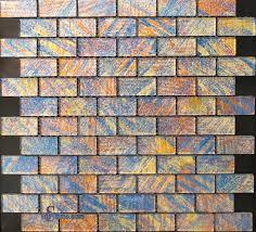 bricks pattern mesh mounted glass mosaic tiles 1in x 2in
