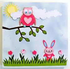 Cute Owl Car Floor Mats by Cute Owl U0026 Bunny 3d Paper Wall Art Canvas 30cm X 30cm For A Baby