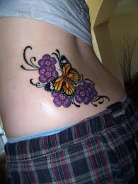 Posts Purple Black Yellow Butterfly Tattoo On Lowerback