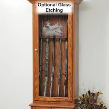 Wooden Gun Cabinet With Etched Glass by Deer Creek 6 Gun Cabinet Amish Made Gun Cabinet Country Lane
