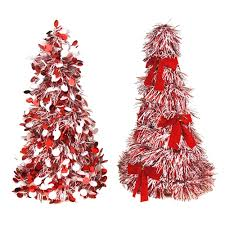 Tinsel Mini Christmas Tree Red White 10 Inch 2 Piece