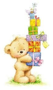 Marina Fedotova bear and pile of presents