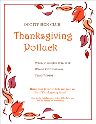 Free Halloween Potluck Invitation by Thanksgiving Potluck Invitation Card For Autumn Dinner Party