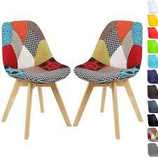 2er set esszimmerstühle aus holz mit leinenbezug designer modell