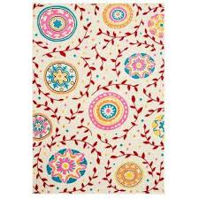 Whimsical Cream Red 5 Ft X 7 Indoor Area Rug
