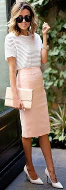 This Is An Example Of The Pencil Skirt Style Kind Tight And Clings Nicely To Body Woman Wearing A Baby Pink