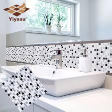 silber mosaik fliesen selbstklebende backsplash wand aufkleber vinyl badezimmer küche home decor diy 3d
