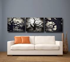 Amazing Black Tree Landscape 3 Piece Canvas Wall Art Sets For Cool Living Room Decor