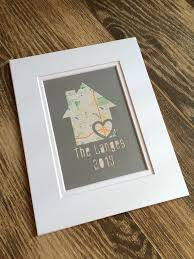 Personalized Home Map Matted Gift First New House