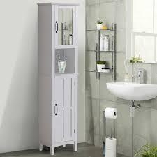 homcom badschrank badezimmerschrank wandschrank mit spiegel vestellbare einlegeböden holz weiß 40 x 30 x 170 cm weiß