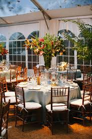 Dramatic Centerpieces Powder Blue Linens And Bamboo Chiavari Chairs