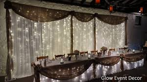 Rustic LED Twinkle Fairy Light Bridal Table Wedding Backdrop With Hessian Swagging Draping For Hire In