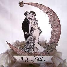 Vintage Style Hand Drawn Wedding Cake Toppers By Jolie En Rose Paper Patisserie