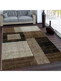 paco home edler designer teppich konturenschnitt kariert in braun beige meliert klingel