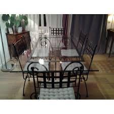 de salle à manger verre et fer forgé et 6 chaises fer forgé