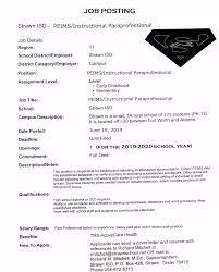 Strawn ISD - JOB POSTING: PEIMS/Instructional Paraprofessional Paraprofessional Resume No Experience Lovely A 40 Student Teacher Aide Resume Sample Lamajasonkellyphotoco Special Education Facebook Lay Chart Cover Letter Sample Literature Review Paraeducator New Lifeguard Job Description For Best Of Free Format Letters Support Worker Unique Example Ideas Collection Law For