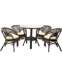 5 Piece Pelangi Dining Rattan Wicker Armchairs And Round Table Glass Top