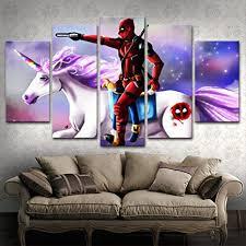 yywife moderne wandbilder wohnzimmer wohnkultur 5 teilige leinwandbilder kreatives geschenk wanddeko gerahmte deadpool charaktere und