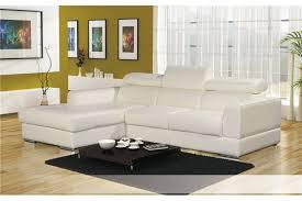 canapé d angle cuir pu avec têtières lena blanc noir chocolat