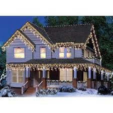 holiday time icicle light set white wire clear bulbs 300 count