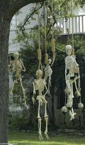Halloween Skeleton Decorations Skeletons Hanging By A Noose Outdoor