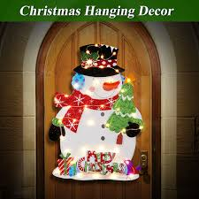 Christmas Warm LED Glowing Snowman Hanging Ornaments Paper Board
