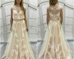 Boho A Line Vintage Inspired Fully Lace Wedding Dress Bohemian Stylebeige