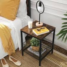 vasagle nachttisch beistelltisch kleiner sofatisch mit gitterkorb schlafzimmer wohnzimmer einfacher aufbau stabil industriestil
