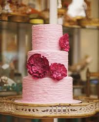 Textured Buttercream Wedding Cake With Fondant Ruffle Flowers By Beverlys Bakery
