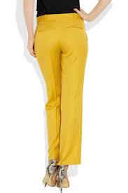 stella mccartney high rise straight leg twill pants in yellow lyst