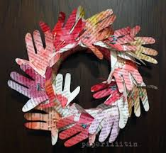 Hand Print Wreath For Mothers Day Craft