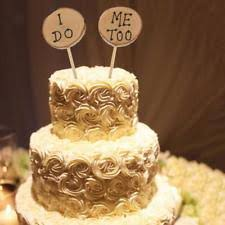Wooden I Do Me Too Shabby Chic Rustic Wedding Cake Topper Picks