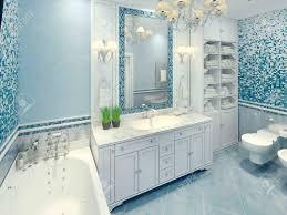 helle deco badezimmer interieur das geräumige badezimmer mit weißen möbeln und fragmente mosaik wand 3d übertragen
