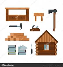 Lumberjack Woodworking Tools Icons Vector Illustration Stock