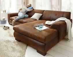 sofa ecksofa garnitur braun wildleder