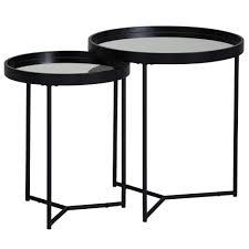 design beistelltisch rund ø 50 36 cm 2 teilig schwarz mit spiegel glasplatte wohnzimmertisch 2er set satztisch verspiegelt couchtisch