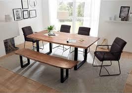 lomado essgruppe amsterdam 119 bestehend aus tisch und bank aus akazie massiv mit baumkante armlehnenstühle mit kunstleder in grau