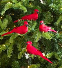 Clip On Cardinal Christmas Tree Ornaments Set Of 4