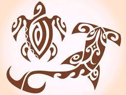Tribal Turtle And Shark Tattoos