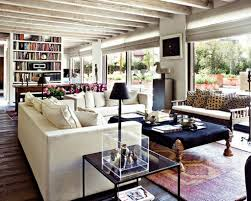 Stylish White Washed Wooden Beam Ceiling And Traditional Carpet For Modern Rustic Living Room Ideas With Comfortable Couch