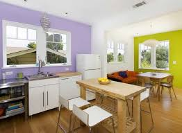 Citrus Green And Light Purple Interior Paint Colors For Modern Kitchen Design With White Cabinets
