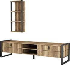 alphamoebel 4927 lost wohnwand tv board lowboard regal hängend sideboard metallfüße wohnzimmer walnuss braun wandregal metallrahmen 184 5 x 34 x